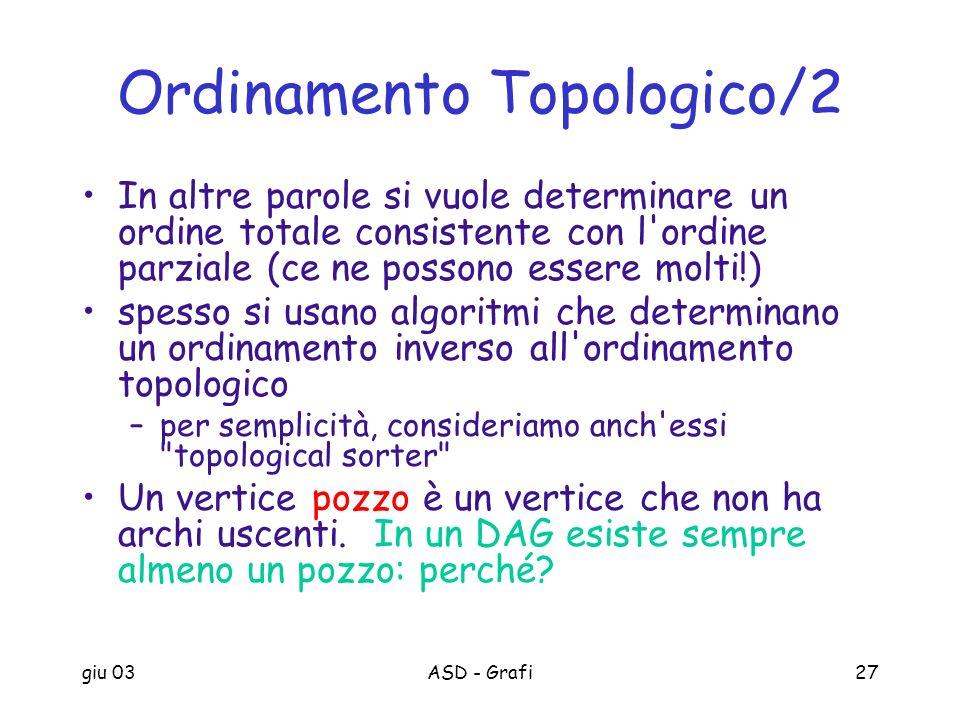 giu 03ASD - Grafi27 Ordinamento Topologico/2 In altre parole si vuole determinare un ordine totale consistente con l'ordine parziale (ce ne possono es