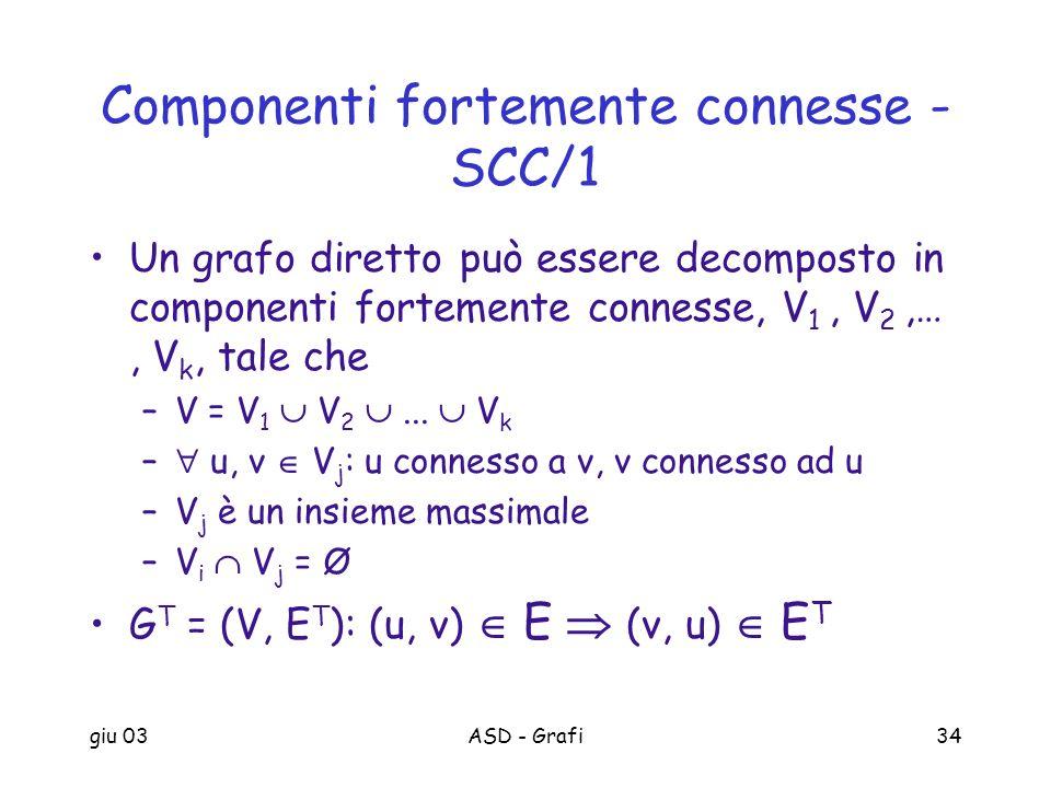 giu 03ASD - Grafi34 Componenti fortemente connesse - SCC/1 Un grafo diretto può essere decomposto in componenti fortemente connesse, V 1, V 2,…, V k,