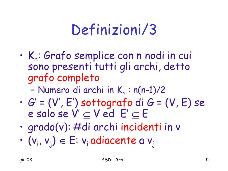 giu 03ASD - Grafi5 Definizioni/3 K n : Grafo semplice con n nodi in cui sono presenti tutti gli archi, detto grafo completo –Numero di archi in K n :