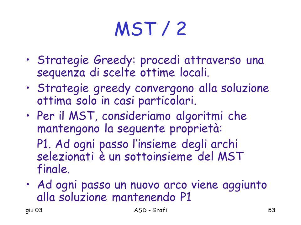 giu 03ASD - Grafi53 MST / 2 Strategie Greedy: procedi attraverso una sequenza di scelte ottime locali. Strategie greedy convergono alla soluzione otti