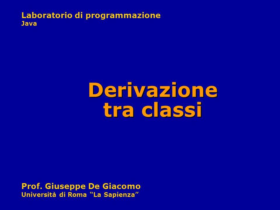 Laboratorio di programmazione Java Prof. Giuseppe De Giacomo Università di Roma La Sapienza Derivazione tra classi