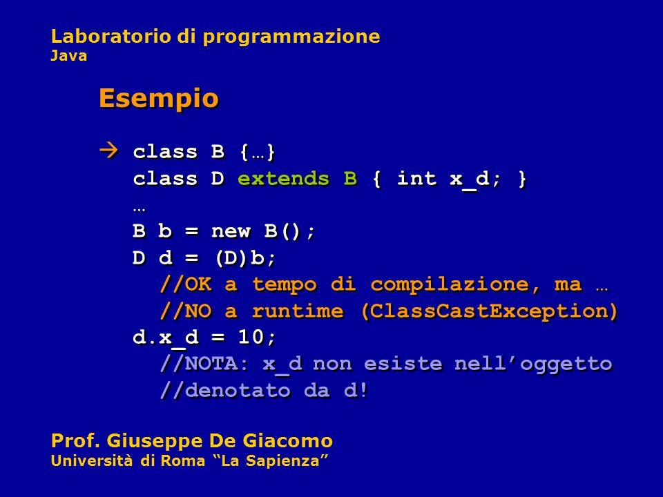 Laboratorio di programmazione Java Prof. Giuseppe De Giacomo Università di Roma La Sapienza class B {…} class D extends B { int x_d; } … B b = new B()
