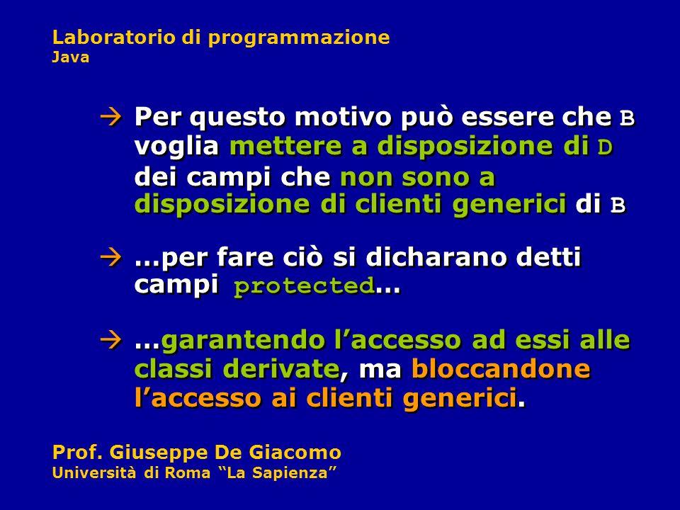 Laboratorio di programmazione Java Prof. Giuseppe De Giacomo Università di Roma La Sapienza …per fare ciò si dicharano detti campi protected … Per que