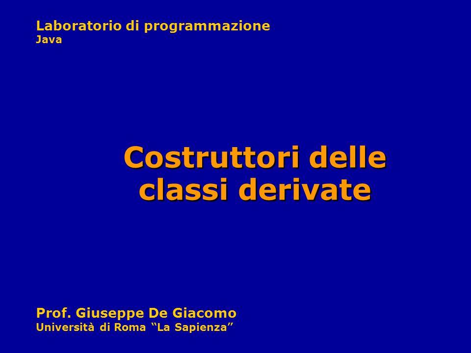 Laboratorio di programmazione Java Prof. Giuseppe De Giacomo Università di Roma La Sapienza Costruttori delle classi derivate