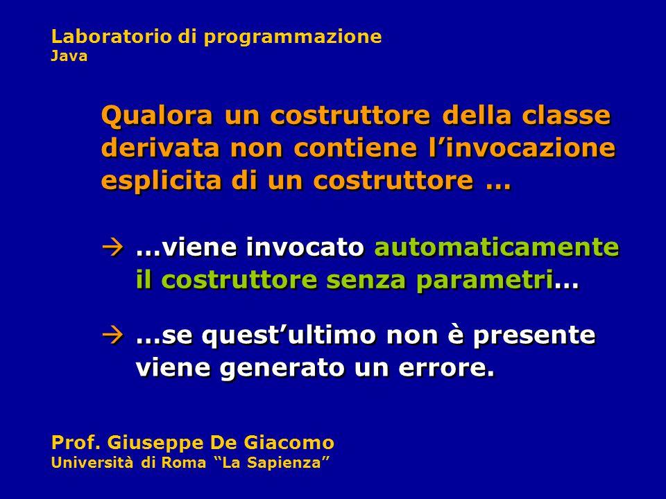 Laboratorio di programmazione Java Prof. Giuseppe De Giacomo Università di Roma La Sapienza Qualora un costruttore della classe derivata non contiene