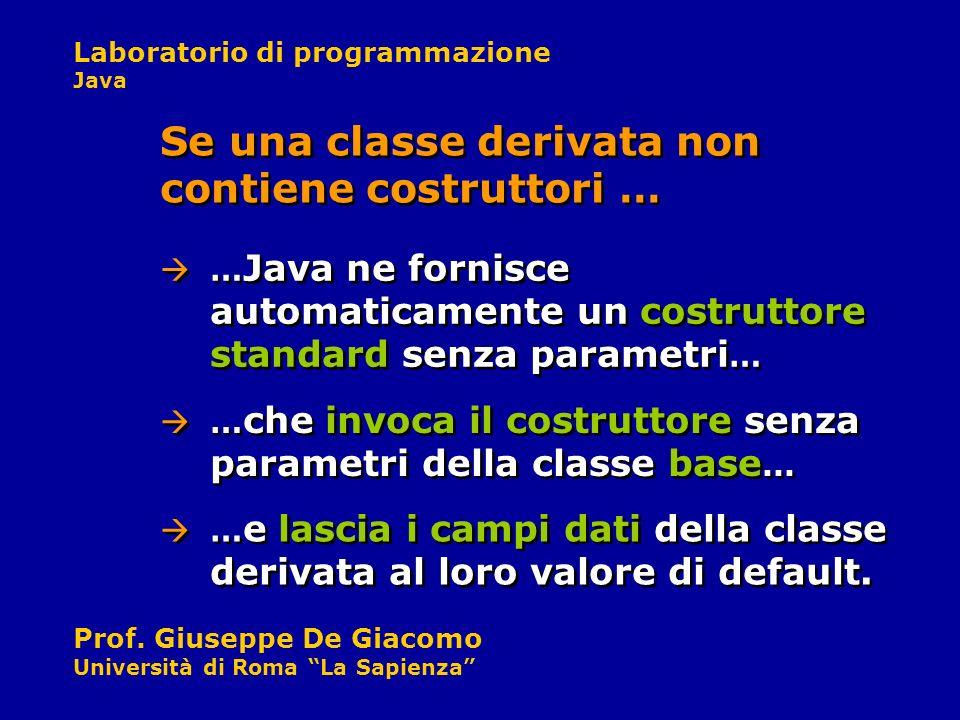 Laboratorio di programmazione Java Prof. Giuseppe De Giacomo Università di Roma La Sapienza Se una classe derivata non contiene costruttori … … Java n