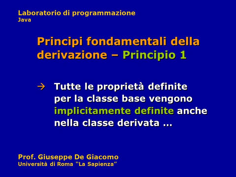 Laboratorio di programmazione Java Prof. Giuseppe De Giacomo Università di Roma La Sapienza Tutte le proprietà definite per la classe base vengono imp