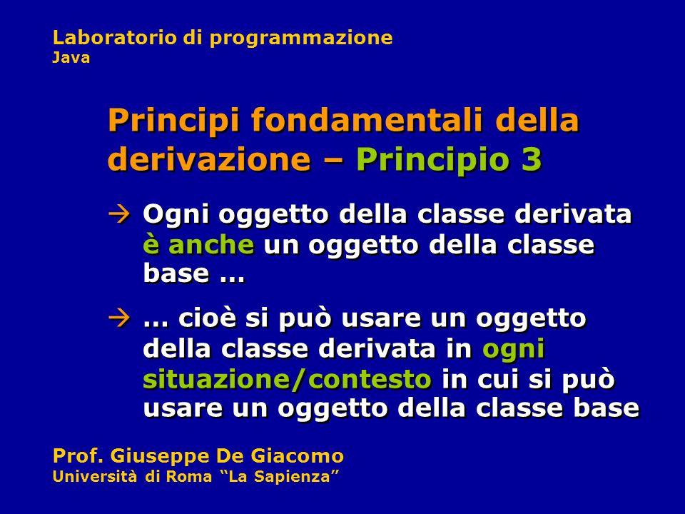 Laboratorio di programmazione Java Prof. Giuseppe De Giacomo Università di Roma La Sapienza … cioè si può usare un oggetto della classe derivata in og