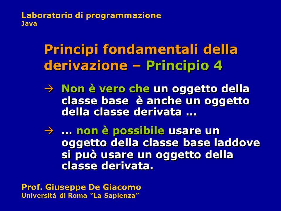 Laboratorio di programmazione Java Prof. Giuseppe De Giacomo Università di Roma La Sapienza Non è vero che un oggetto della classe base è anche un ogg