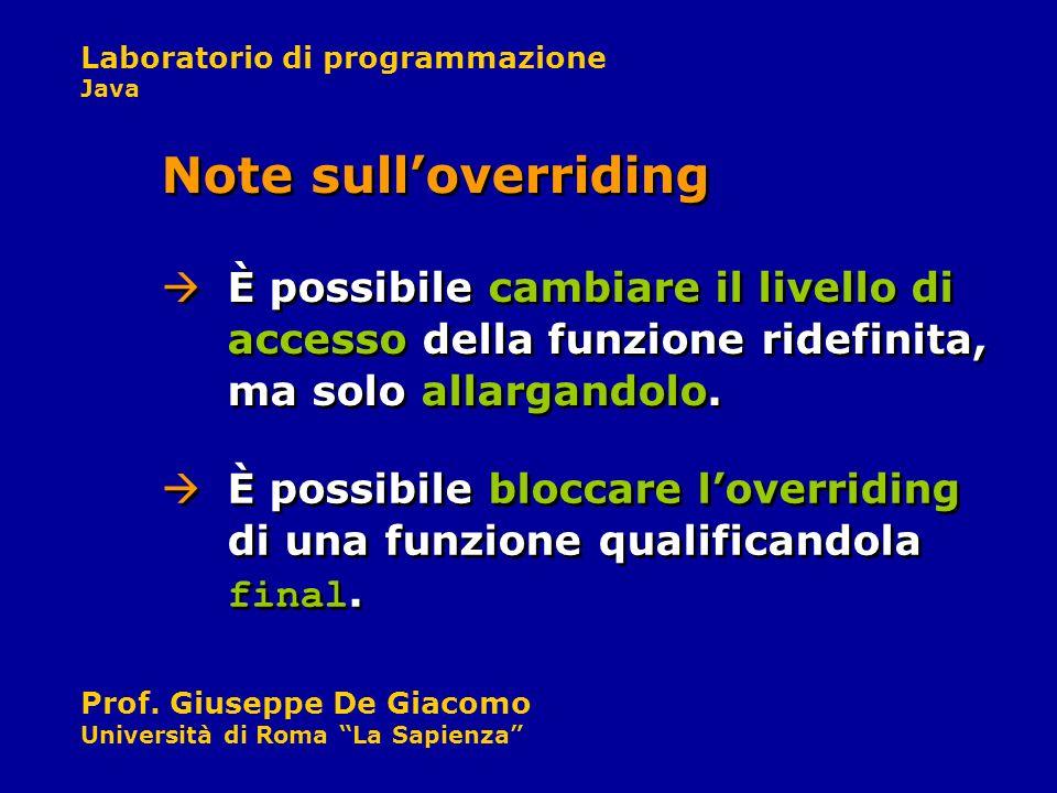 Laboratorio di programmazione Java Prof. Giuseppe De Giacomo Università di Roma La Sapienza È possibile cambiare il livello di accesso della funzione