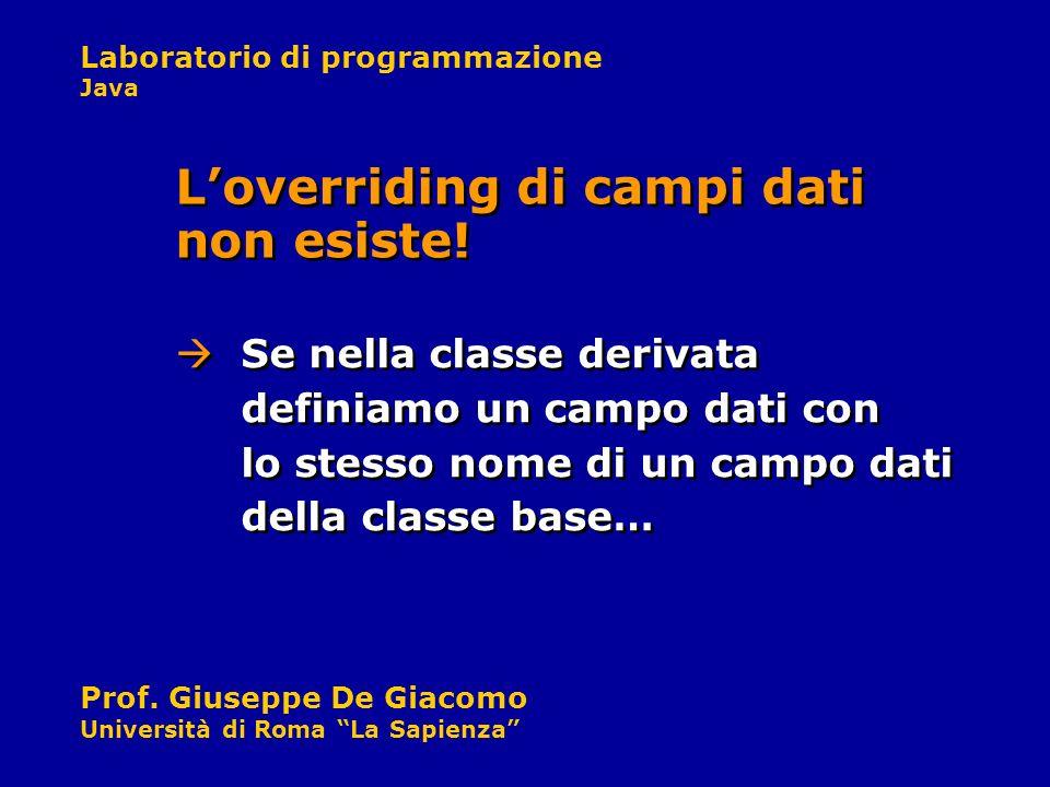 Laboratorio di programmazione Java Prof. Giuseppe De Giacomo Università di Roma La Sapienza Se nella classe derivata definiamo un campo dati con lo st