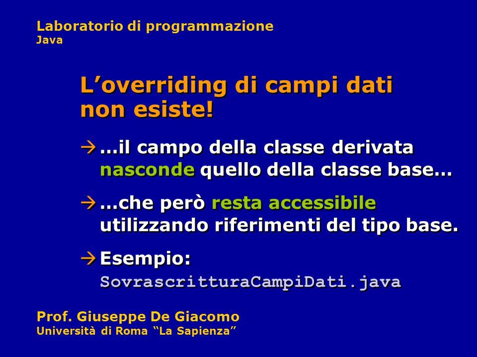 Laboratorio di programmazione Java Prof. Giuseppe De Giacomo Università di Roma La Sapienza …il campo della classe derivata nasconde quello della clas