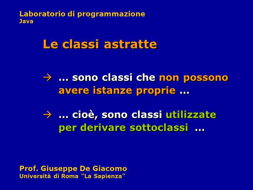 Laboratorio di programmazione Java Prof. Giuseppe De Giacomo Università di Roma La Sapienza … sono classi che non possono avere istanze proprie … Le c