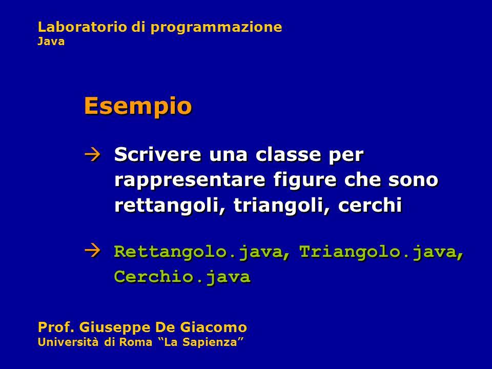 Laboratorio di programmazione Java Prof. Giuseppe De Giacomo Università di Roma La Sapienza Scrivere una classe per rappresentare figure che sono rett