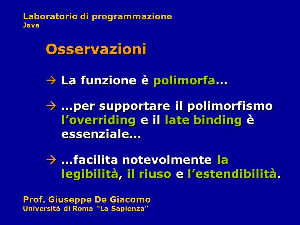 Laboratorio di programmazione Java Prof. Giuseppe De Giacomo Università di Roma La Sapienza La funzione è polimorfa… Osservazioni …per supportare il p