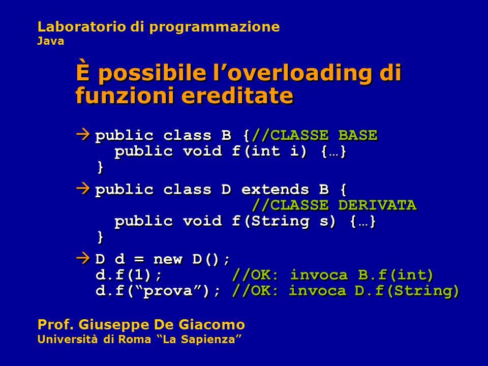 Laboratorio di programmazione Java Prof. Giuseppe De Giacomo Università di Roma La Sapienza public class D extends B { //CLASSE DERIVATA public void f