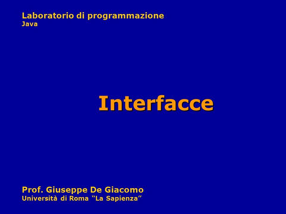 Laboratorio di programmazione Java Prof. Giuseppe De Giacomo Università di Roma La Sapienza Interfacce