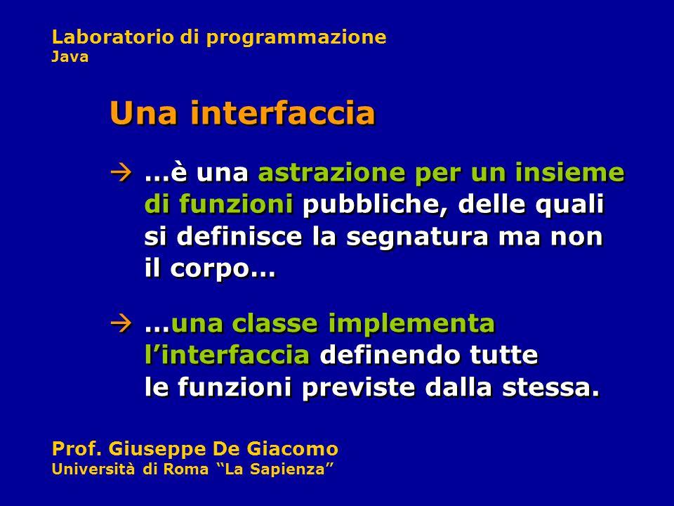 Laboratorio di programmazione Java Prof. Giuseppe De Giacomo Università di Roma La Sapienza …è una astrazione per un insieme di funzioni pubbliche, de