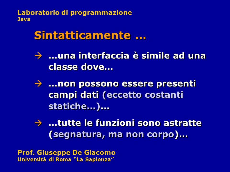 Laboratorio di programmazione Java Prof. Giuseppe De Giacomo Università di Roma La Sapienza …una interfaccia è simile ad una classe dove… Sintatticame