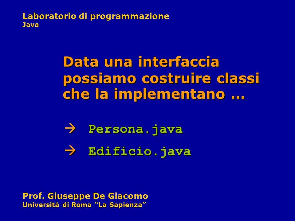 Laboratorio di programmazione Java Prof. Giuseppe De Giacomo Università di Roma La Sapienza Persona.java Data una interfaccia possiamo costruire class