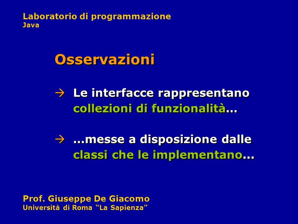 Laboratorio di programmazione Java Prof. Giuseppe De Giacomo Università di Roma La Sapienza Le interfacce rappresentano collezioni di funzionalità… Os