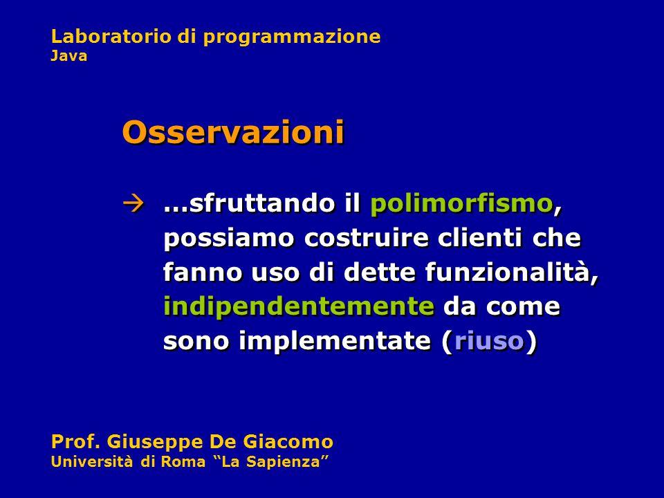 Laboratorio di programmazione Java Prof. Giuseppe De Giacomo Università di Roma La Sapienza …sfruttando il polimorfismo, possiamo costruire clienti ch