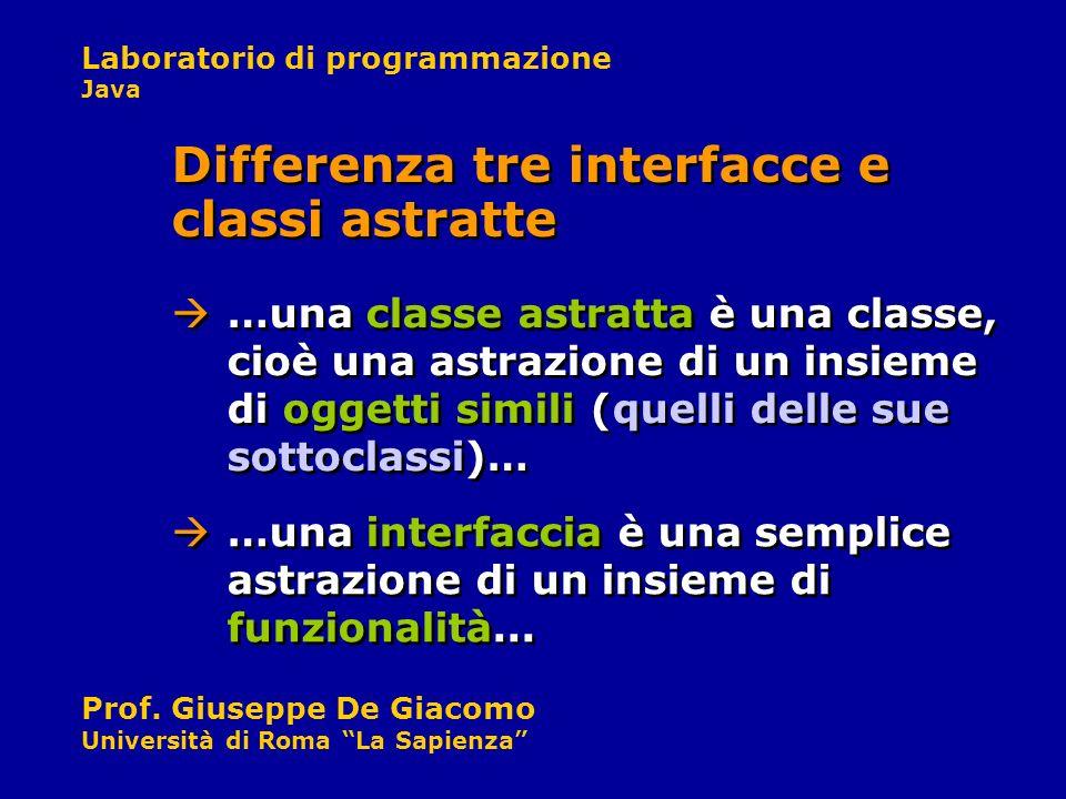 Laboratorio di programmazione Java Prof. Giuseppe De Giacomo Università di Roma La Sapienza …una classe astratta è una classe, cioè una astrazione di