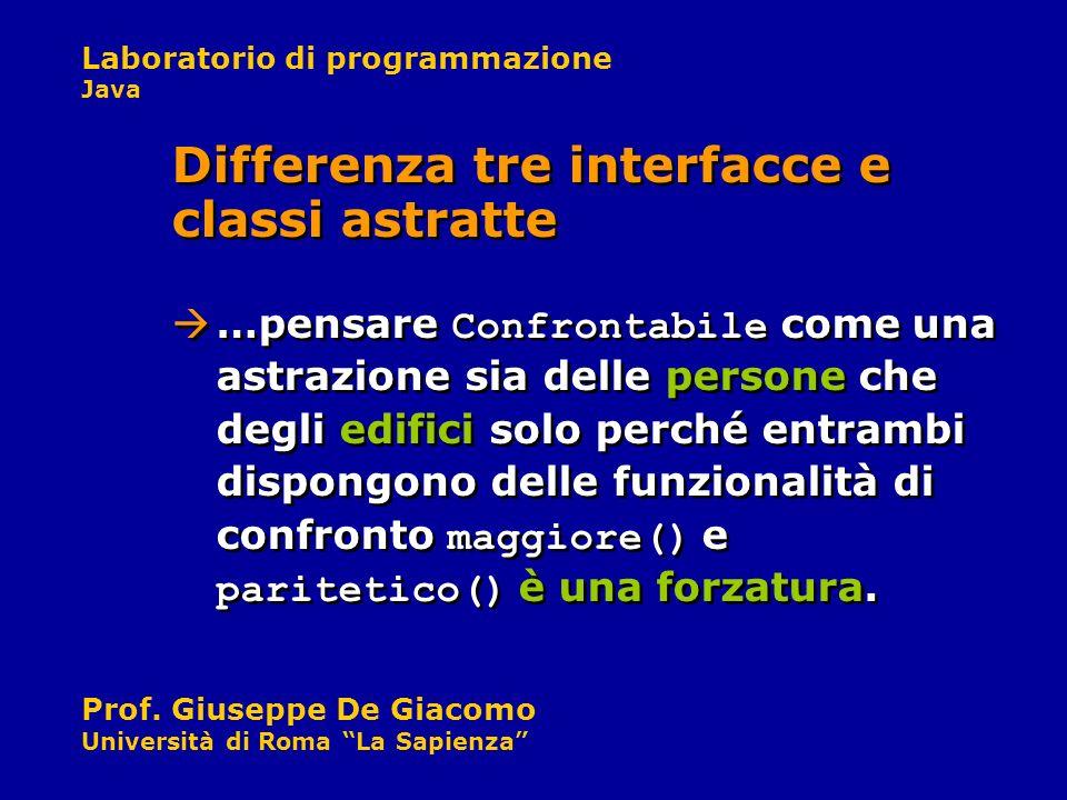 Laboratorio di programmazione Java Prof. Giuseppe De Giacomo Università di Roma La Sapienza …pensare Confrontabile come una astrazione sia delle perso