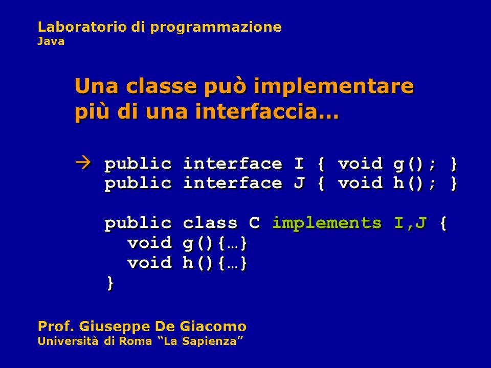 Laboratorio di programmazione Java Prof. Giuseppe De Giacomo Università di Roma La Sapienza Una classe può implementare più di una interfaccia… public