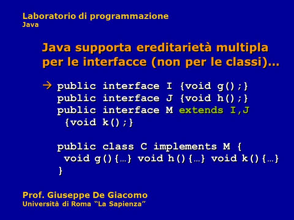 Laboratorio di programmazione Java Prof. Giuseppe De Giacomo Università di Roma La Sapienza Java supporta ereditarietà multipla per le interfacce (non