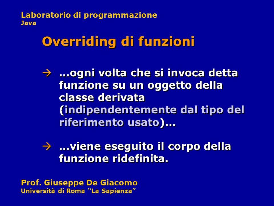 Laboratorio di programmazione Java Prof. Giuseppe De Giacomo Università di Roma La Sapienza …ogni volta che si invoca detta funzione su un oggetto del