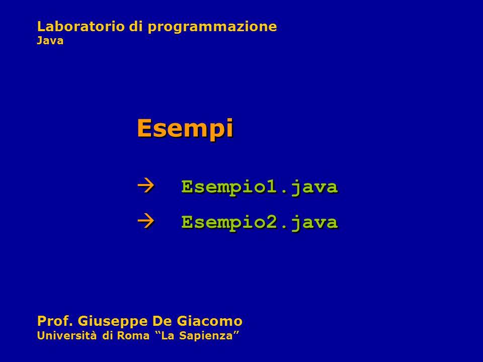 Laboratorio di programmazione Java Prof. Giuseppe De Giacomo Università di Roma La Sapienza Esempio1.java Esempi Esempio2.java