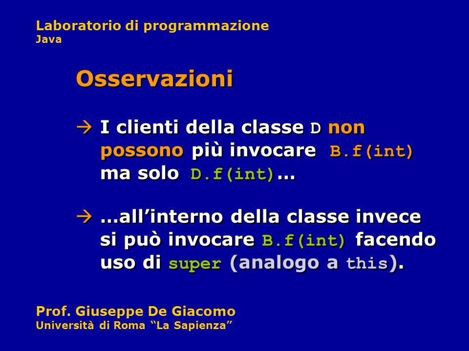 Laboratorio di programmazione Java Prof. Giuseppe De Giacomo Università di Roma La Sapienza I clienti della classe D non possono più invocare B.f(int)