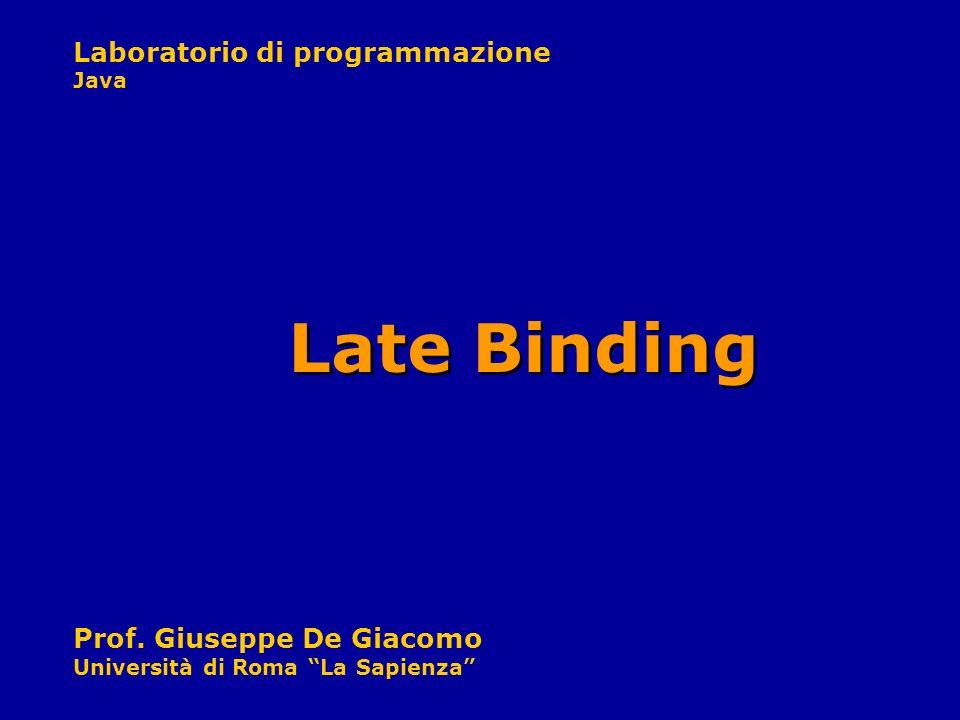 Laboratorio di programmazione Java Prof. Giuseppe De Giacomo Università di Roma La Sapienza Late Binding