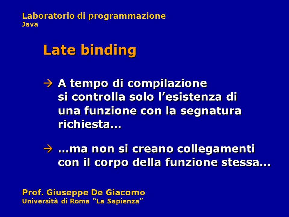 Laboratorio di programmazione Java Prof. Giuseppe De Giacomo Università di Roma La Sapienza A tempo di compilazione si controlla solo lesistenza di un