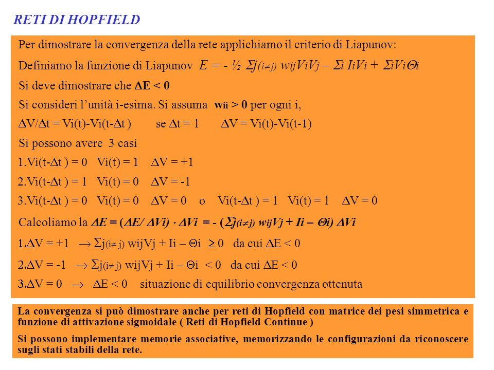 RETI DI HOPFIELD Per dimostrare la convergenza della rete applichiamo il criterio di Liapunov: Definiamo la funzione di Liapunov E = - ½ j ( i j) w ij