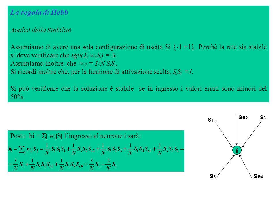 La regola di Hebb Analisi della Stabilità Assumiamo di avere una sola configurazione di uscita Si {-1 +1}. Perchè la rete sia stabile si deve verifica