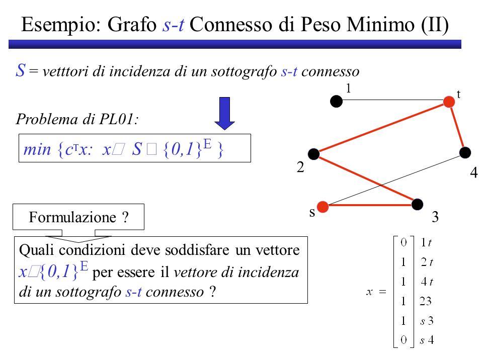 Esempio: Grafo s-t Connesso di Peso Minimo (II) S = vetttori di incidenza di un sottografo s-t connesso Formulazione ? min c x: x S 0,1 E Problema di