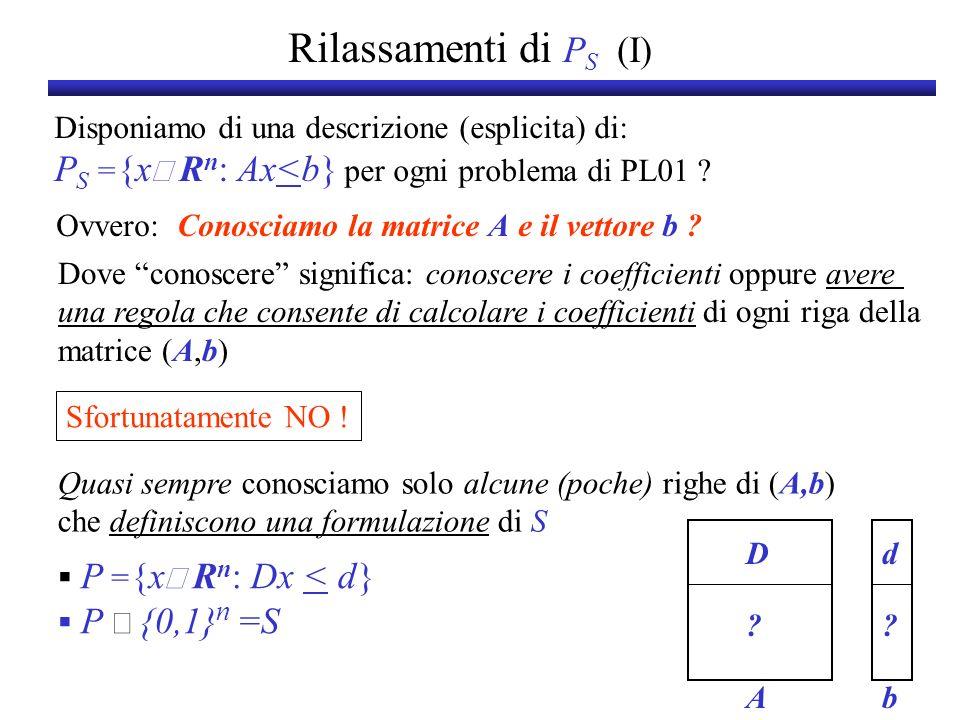 Rilassamenti di P S (I) Disponiamo di una descrizione (esplicita) di: P S = {x R n : Ax<b} per ogni problema di PL01 ? Sfortunatamente NO ! Quasi semp