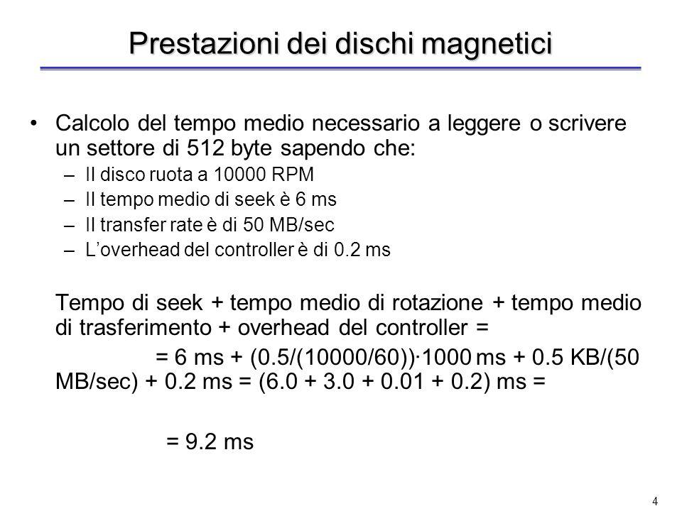 3 Lettura/scrittura di un disco Processo composto da 3 fasi: –Posizionamento della testina sul cilindro desiderato (tempo di seek) Da 3 a 14 ms (può diminuire del 75% se si usano delle ottimizzazioni) Dischi di diametro piccolo permettono di ridurre il tempo di posizionamento –Attesa che il settore desiderato ruoti sotto la testina di lettura/scrittura (tempo di rotazione) In media è il tempo per ½ rotazione Tempo di rotazione medio = 0.5/numero di giri al secondo Es.: 7200 RPM Tempo di rotazione medio = 0.5/(7200/60) = 4.2 ms –Operazione di lettura o scrittura di un settore (tempo di trasferimento) Da 30 a 80 MB/sec (fino a 320 MB/sec se il controllore del disco ha una cache built-in) In più: tempo per le operazioni del disk controller (tempo per il controller)