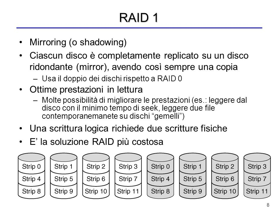 7 RAID 0 Nessuna ridondanza dei dati Solo striping dei dati –Striping: allocazione di blocchi logicamente sequenziali su dischi diversi per aumentare le prestazioni rispetto a quelle di un singolo disco –Lettura e scrittura in parallelo di strip (strisce) su dischi diversi Non è un vero RAID perché non cè nessuna ridondanza E la migliore soluzione in scrittura, perchè non ci sono overhead per la gestione della ridondanza, ma non in lettura