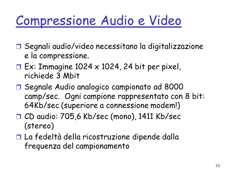 10 Compressione Audio e Video r Segnali audio/video necessitano la digitalizzazione e la compressione. r Ex: Immagine 1024 x 1024, 24 bit per pixel, r