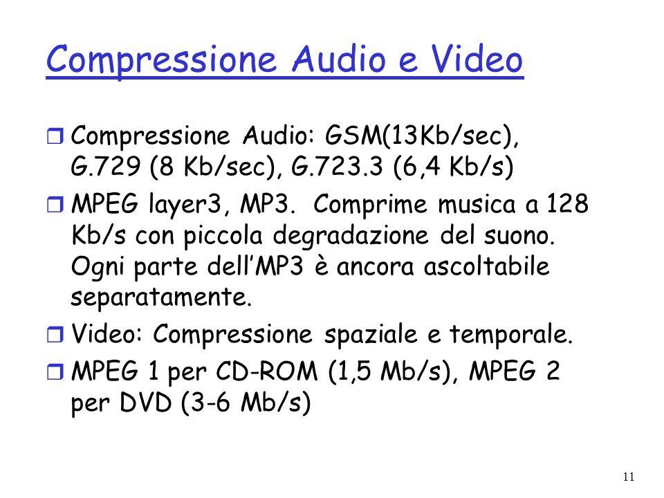 11 Compressione Audio e Video r Compressione Audio: GSM(13Kb/sec), G.729 (8 Kb/sec), G.723.3 (6,4 Kb/s) r MPEG layer3, MP3. Comprime musica a 128 Kb/s
