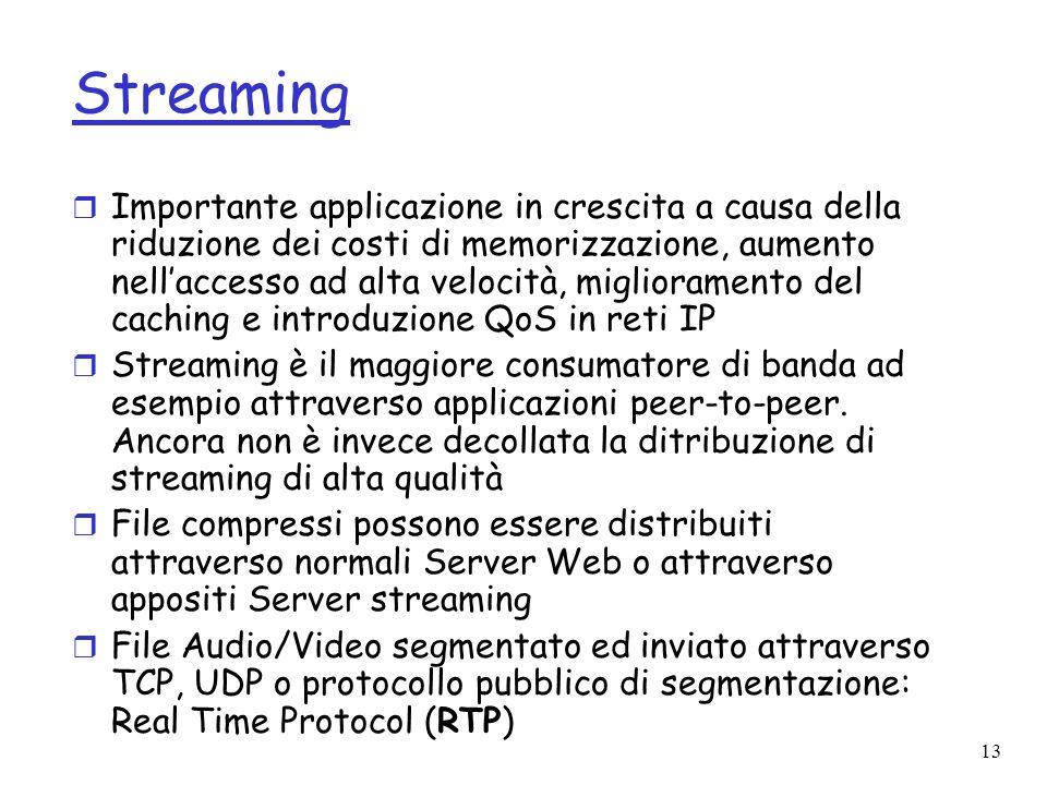 13 Streaming r Importante applicazione in crescita a causa della riduzione dei costi di memorizzazione, aumento nellaccesso ad alta velocità, migliora