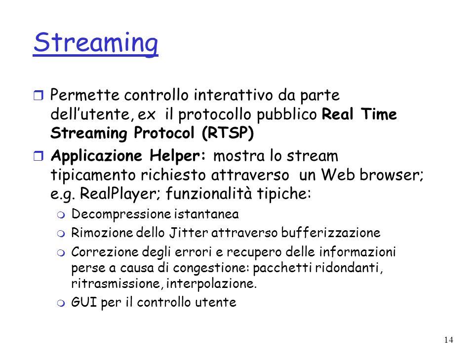 14 Streaming r Permette controllo interattivo da parte dellutente, ex il protocollo pubblico Real Time Streaming Protocol (RTSP) r Applicazione Helper