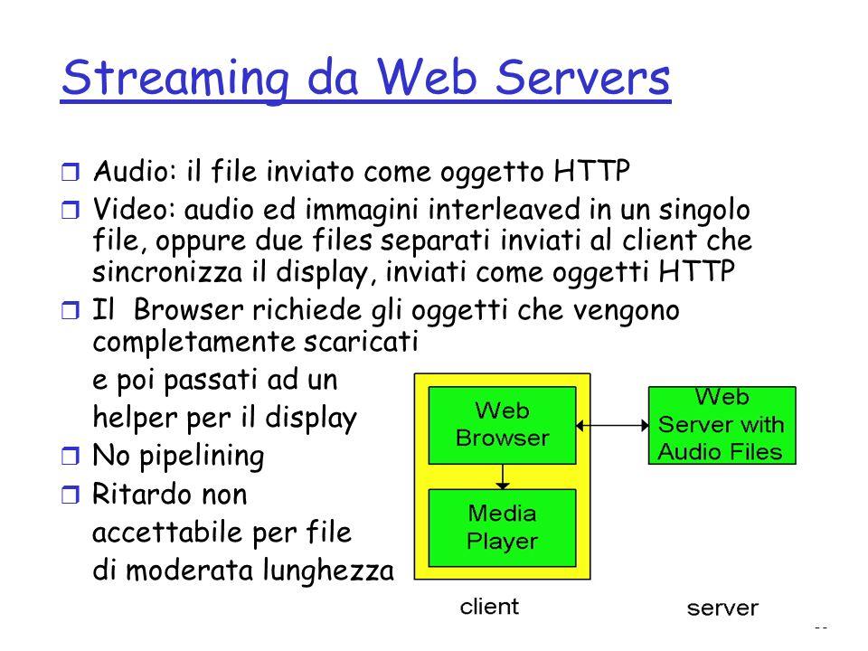 15 Streaming da Web Servers r Audio: il file inviato come oggetto HTTP r Video: audio ed immagini interleaved in un singolo file, oppure due files sep