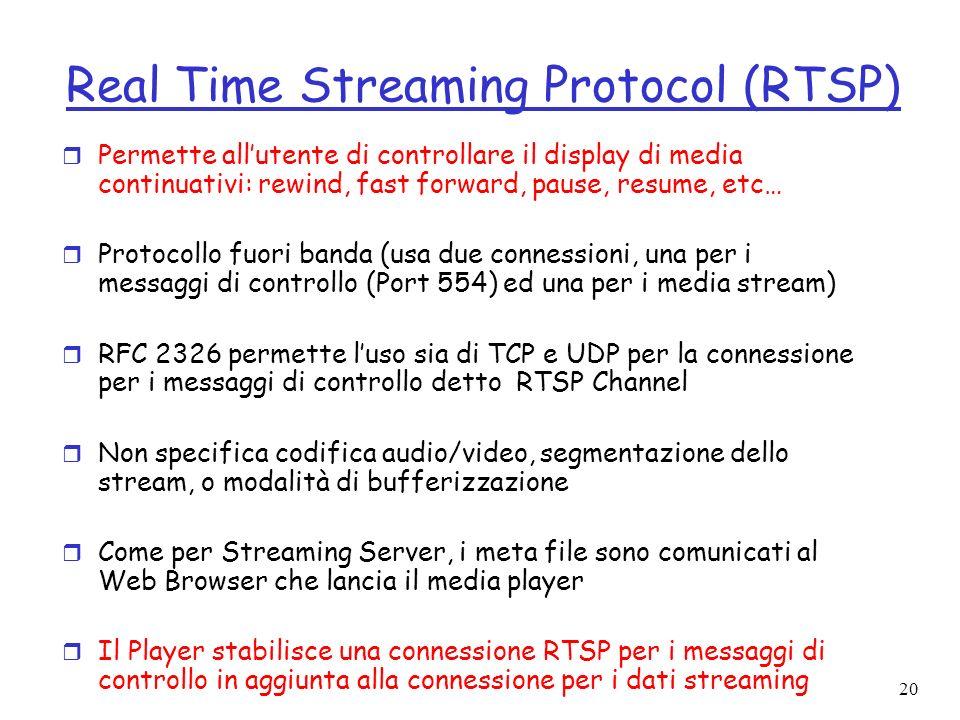 20 Real Time Streaming Protocol (RTSP) r Permette allutente di controllare il display di media continuativi: rewind, fast forward, pause, resume, etc…