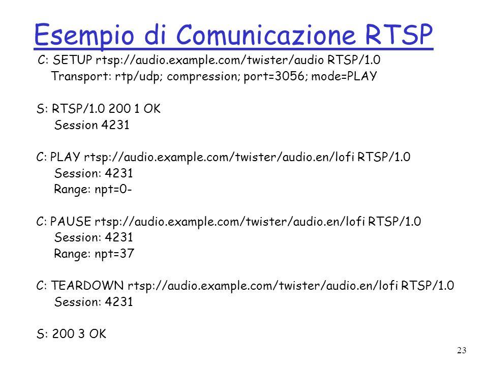 23 Esempio di Comunicazione RTSP C: SETUP rtsp://audio.example.com/twister/audio RTSP/1.0 Transport: rtp/udp; compression; port=3056; mode=PLAY S: RTS