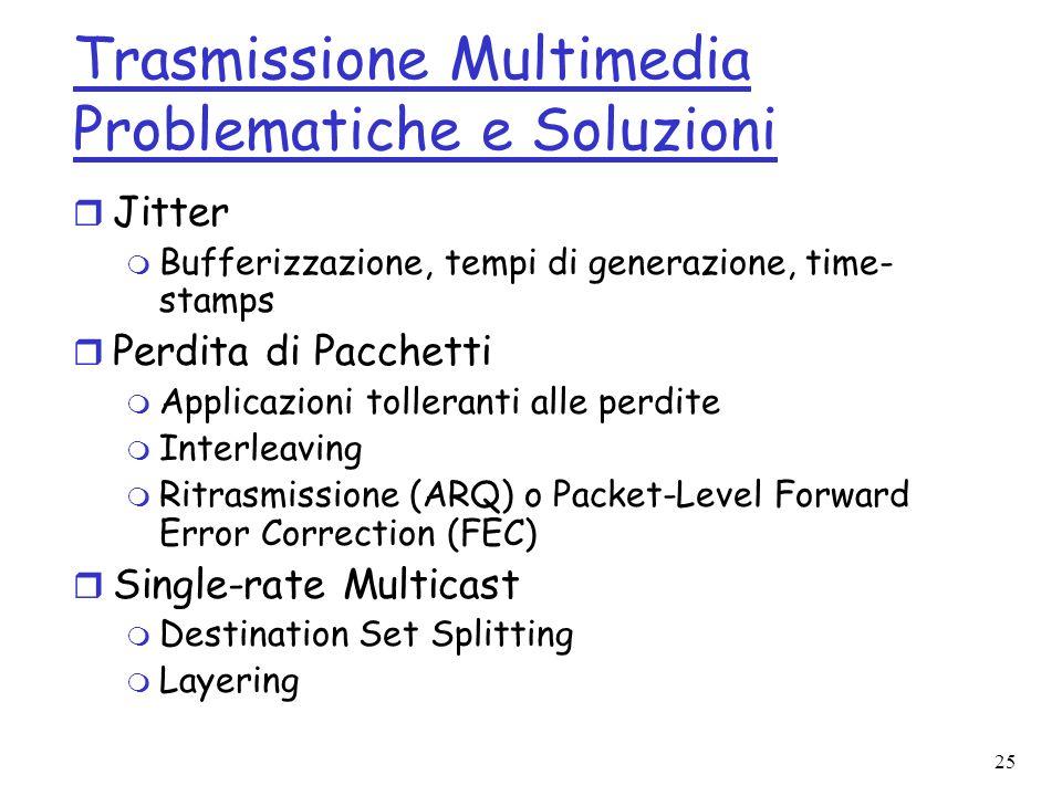 25 Trasmissione Multimedia Problematiche e Soluzioni r Jitter m Bufferizzazione, tempi di generazione, time- stamps r Perdita di Pacchetti m Applicazi