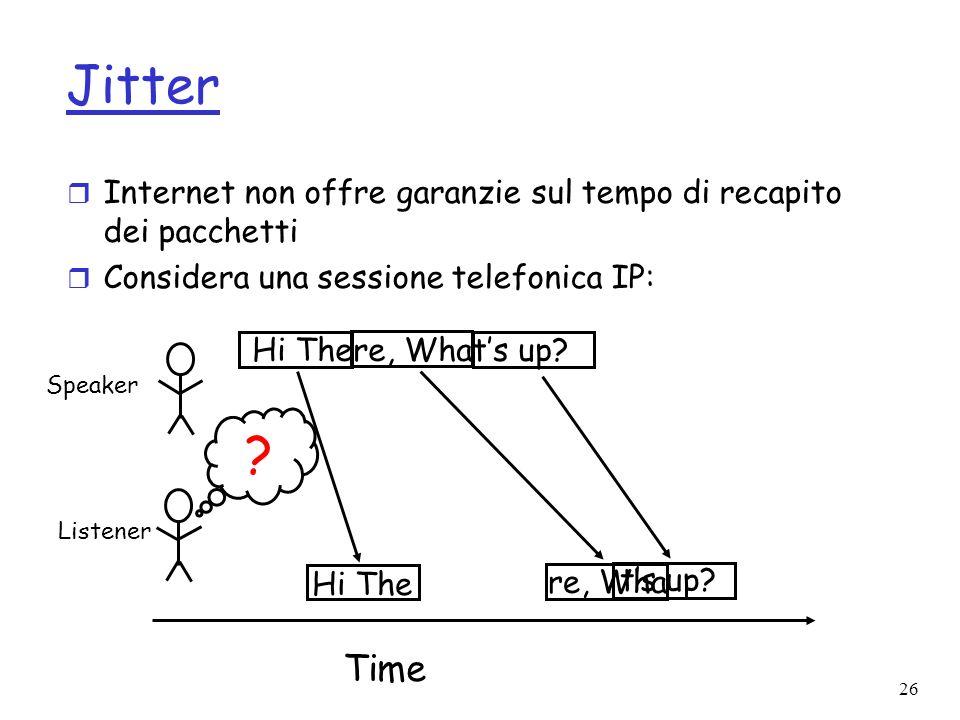 26 Jitter r Internet non offre garanzie sul tempo di recapito dei pacchetti r Considera una sessione telefonica IP: Speaker Listener Time Hi There, Wh